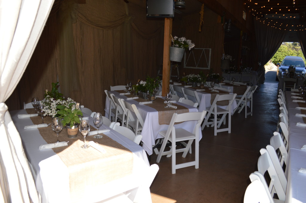 Country Wedding Reception in Barn